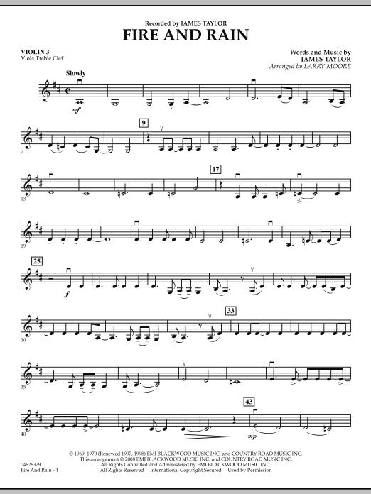 Fire and Rain - Violin 3 (Viola Treble Clef) (Orchestra)