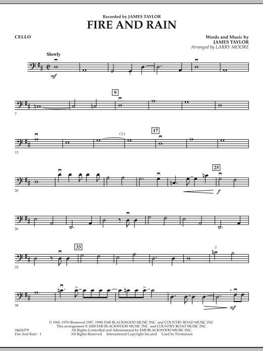 Fire and Rain - Cello (Orchestra)