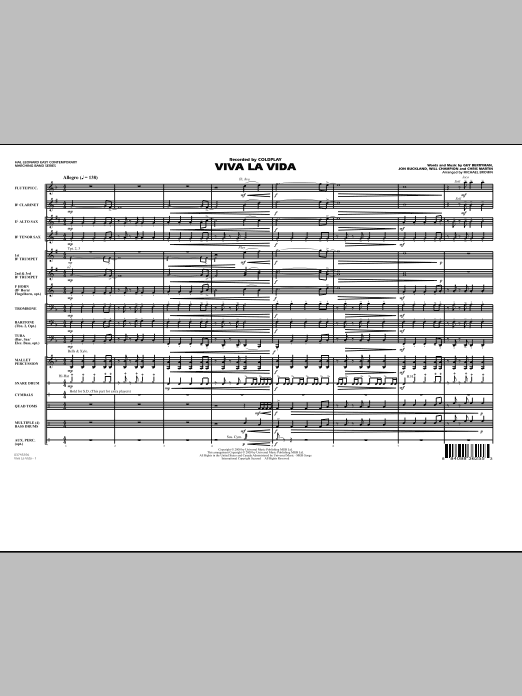 Viva La Vida (COMPLETE) sheet music for marching band by Michael Brown, Coldplay, Guy Berryman, Jon Buckland and Will Champion. Score Image Preview.
