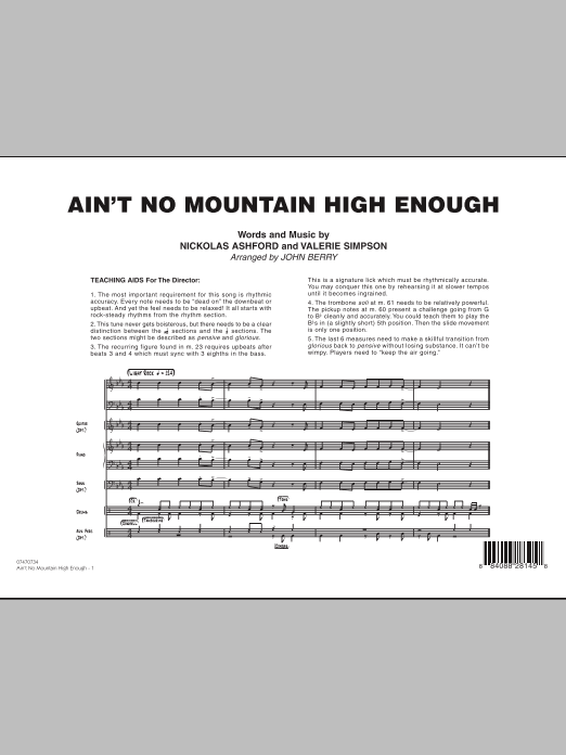 Ain't No Mountain High Enough (COMPLETE) sheet music for jazz band by John Berry, Nickolas Ashford and Valerie Simpson. Score Image Preview.