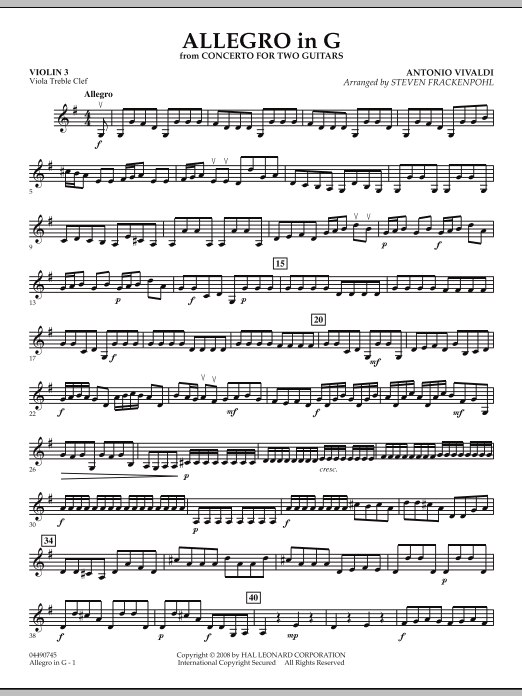 Allegro in G - Violin 3 (Viola Treble Clef) (Orchestra)