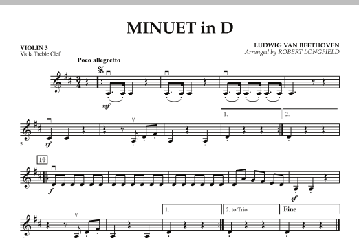 Minuet in D - Violin 3 (Viola Treble Clef) (Orchestra)