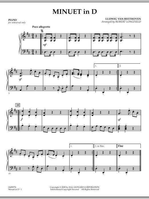 Minuet in D - Piano (Orchestra)
