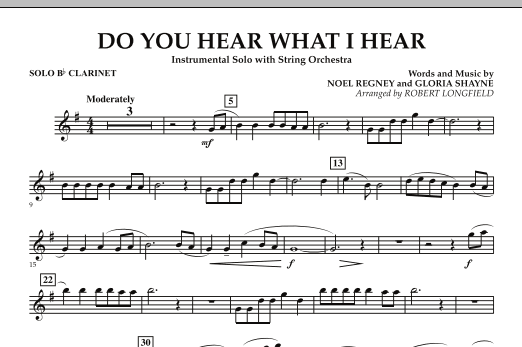 Do You Hear What I Hear - Solo Bb Clarinet (Orchestra)