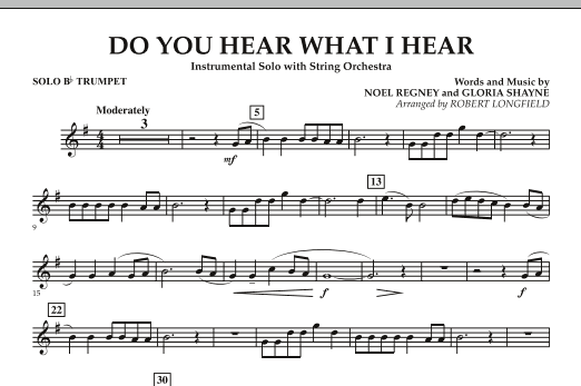 Do You Hear What I Hear - Solo Bb Trumpet (Orchestra)