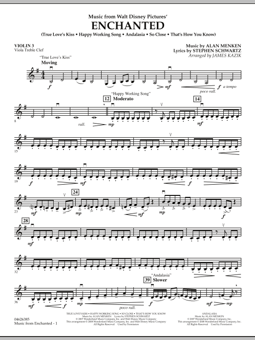 Music from Enchanted - Violin 3 (Viola Treble Clef) (Orchestra)
