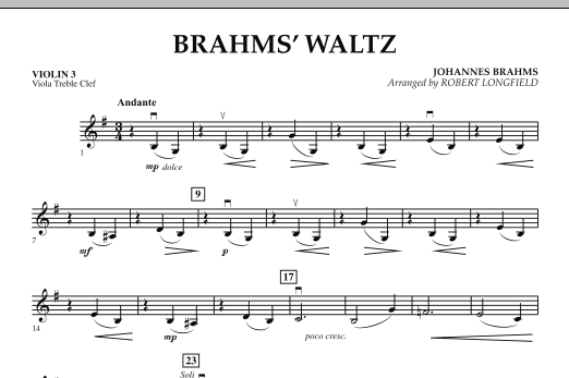 Brahms' Waltz - Violin 3 (Viola Treble Clef) (Orchestra)
