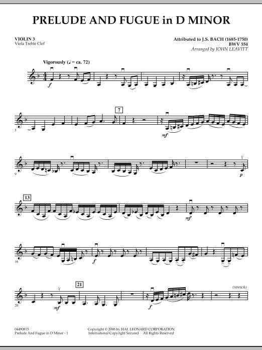 Prelude and Fugue in D Minor - Violin 3 (Viola Treble Clef) (Orchestra)
