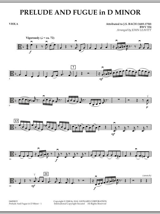 Prelude and Fugue in D Minor - Viola (Orchestra)