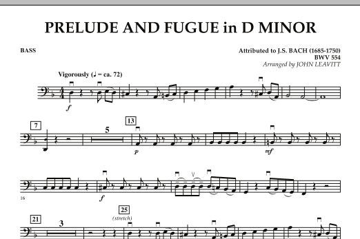Prelude and Fugue in D Minor - Bass (Orchestra)