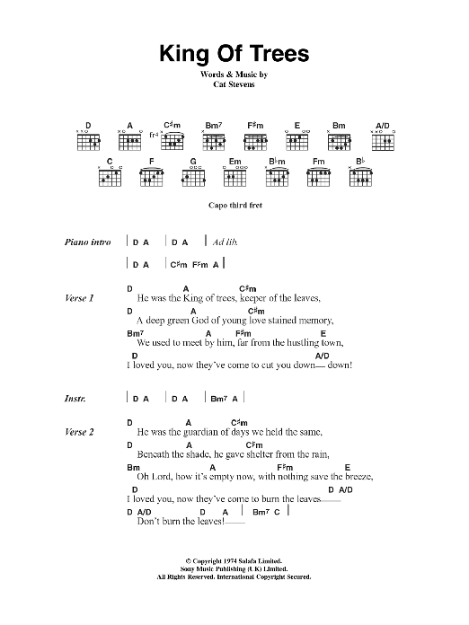 King Of Trees Sheet Music Direct