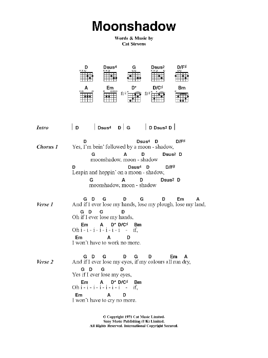 Moon Shadow by Cat Stevens - Guitar Chords/Lyrics - Guitar Instructor