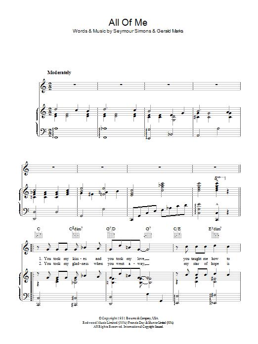 All Of Me (Piano, Vocal & Guitar)