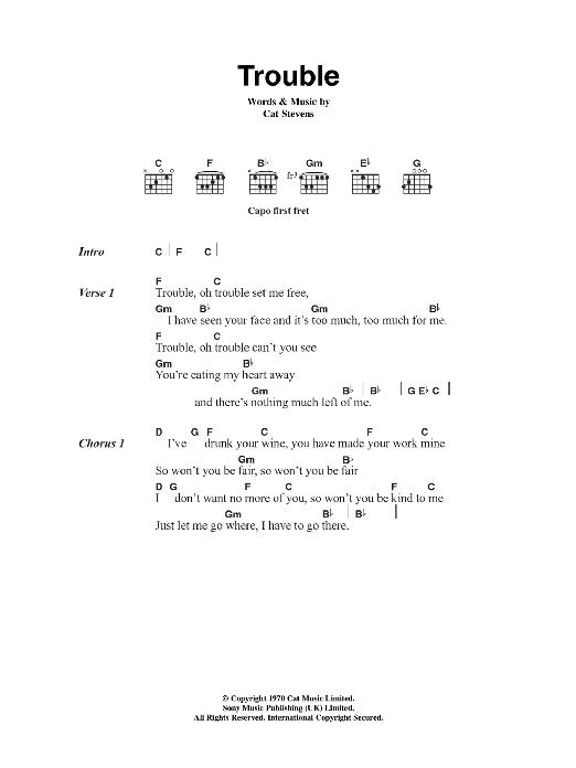 Trouble by Cat Stevens - Guitar Chords/Lyrics - Guitar Instructor
