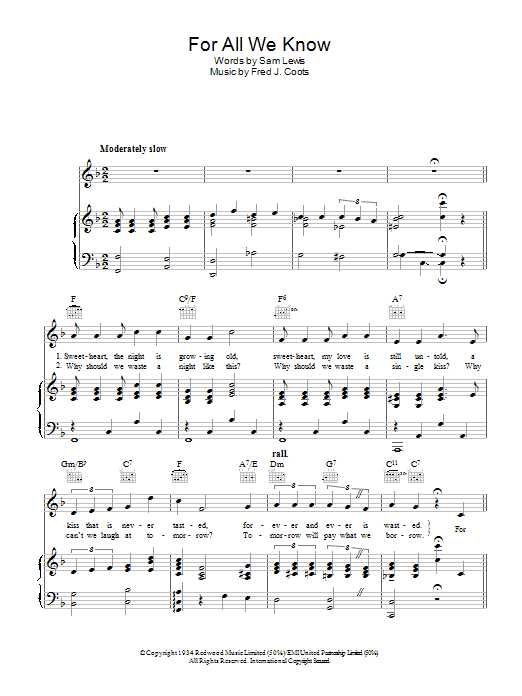 For All We Know (Piano, Vocal & Guitar)