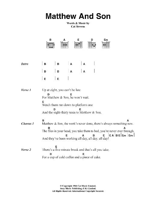 Matthew And Son Sheet Music