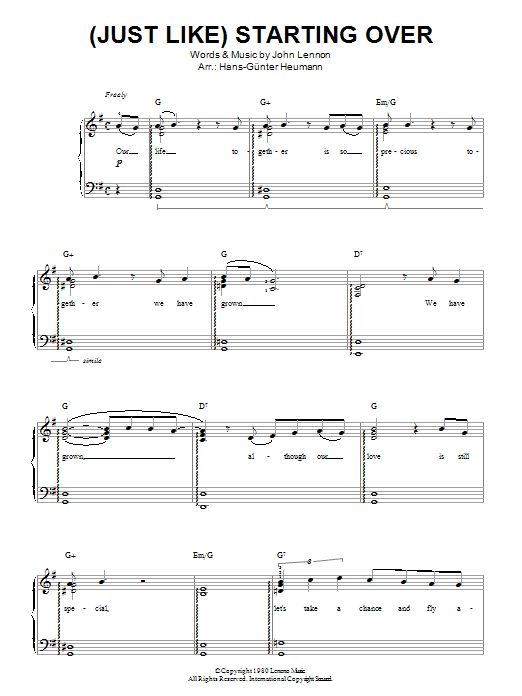 (Just Like) Starting Over Sheet Music