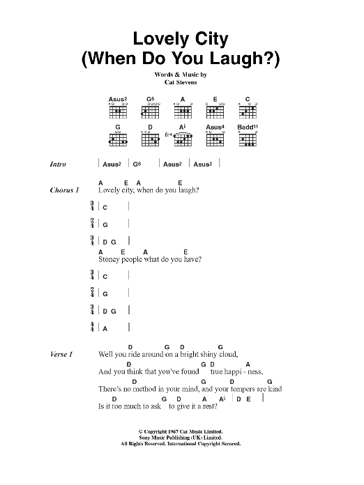 Lovely City (When Do You Laugh?) Sheet Music
