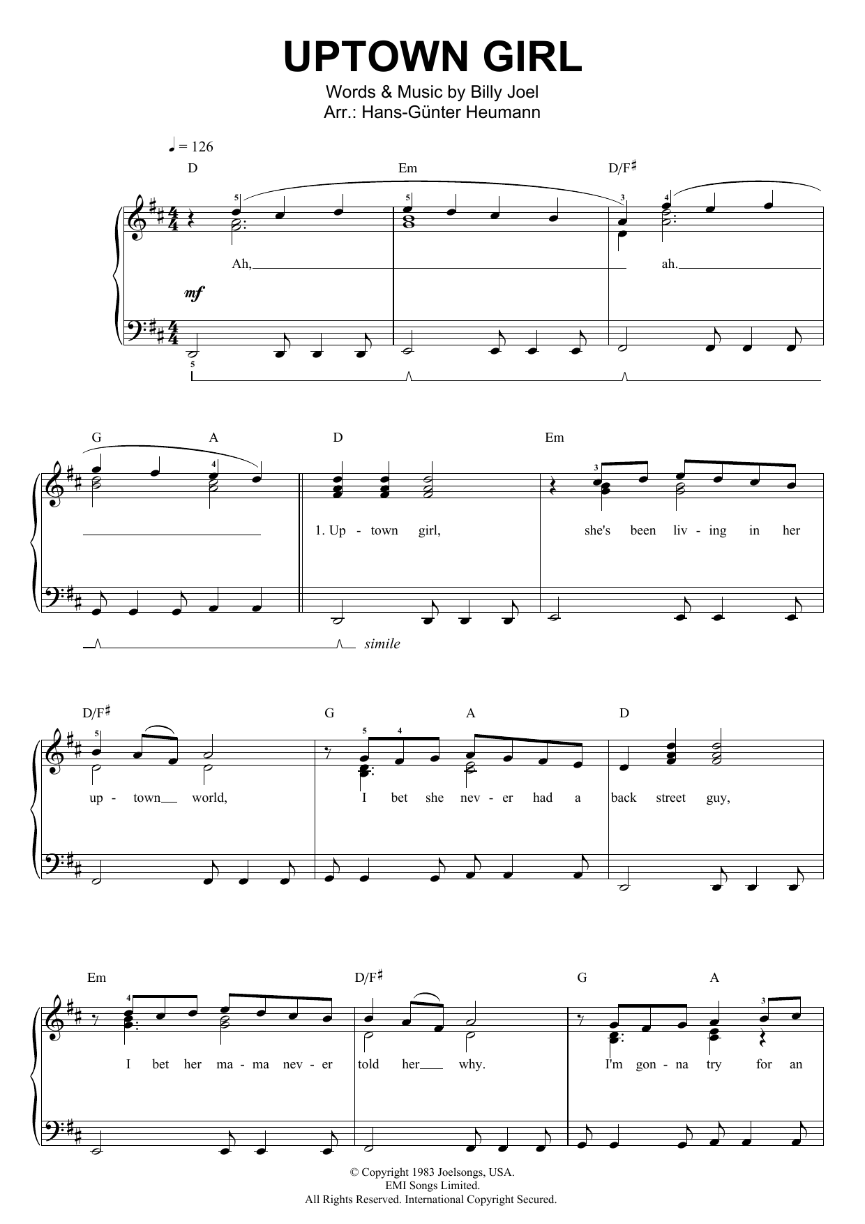 Uptown Girl (Piano & Vocal)