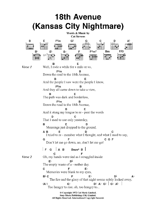 18th Avenue (Kansas City Nightmare) Sheet Music
