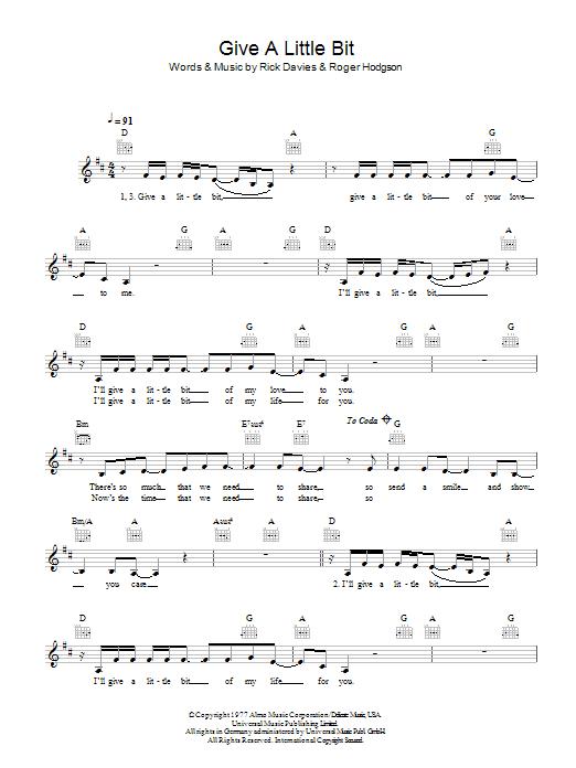 Give A Little Bit Sheet Music