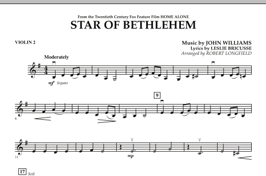 """Star of Bethlehem (from """"Home Alone"""") - Violin 2 (Orchestra)"""