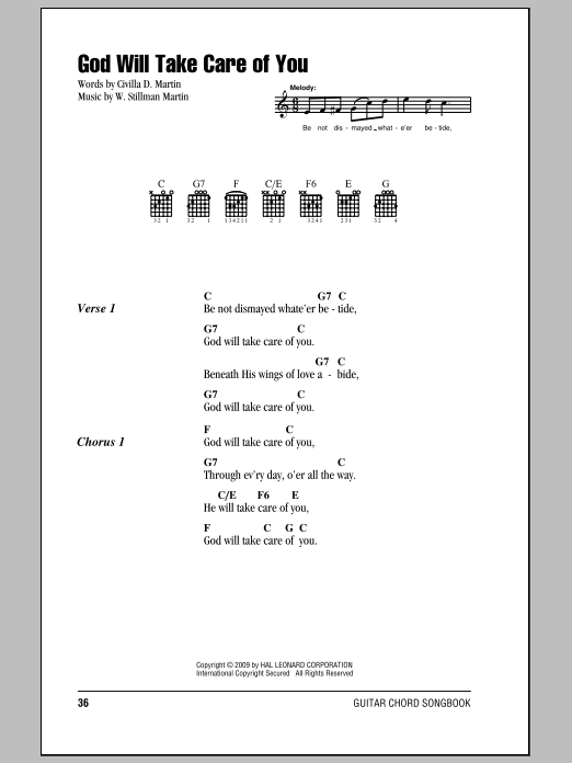 God Will Take Care Of You Sheet Music