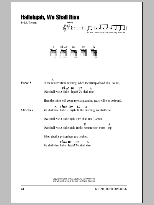 Christmas Hallelujah Sheet Music.Hallelujah We Shall Rise By J E Thomas Guitar Chords Lyrics Digital Sheet Music