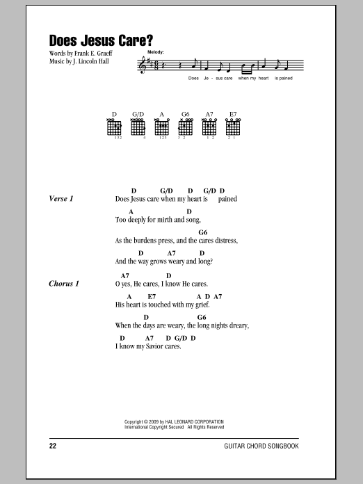 Does Jesus Care? Sheet Music