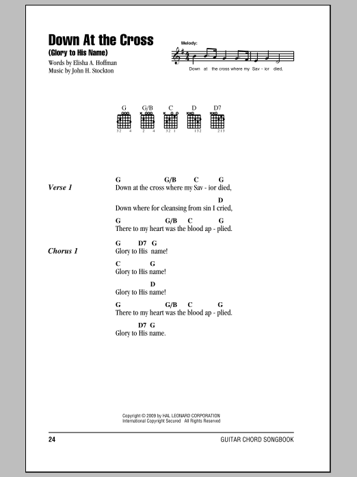 Down At The Cross (Glory To His Name) Sheet Music