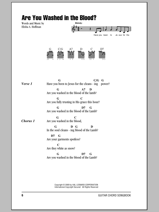 Are You Washed In The Blood? Sheet Music