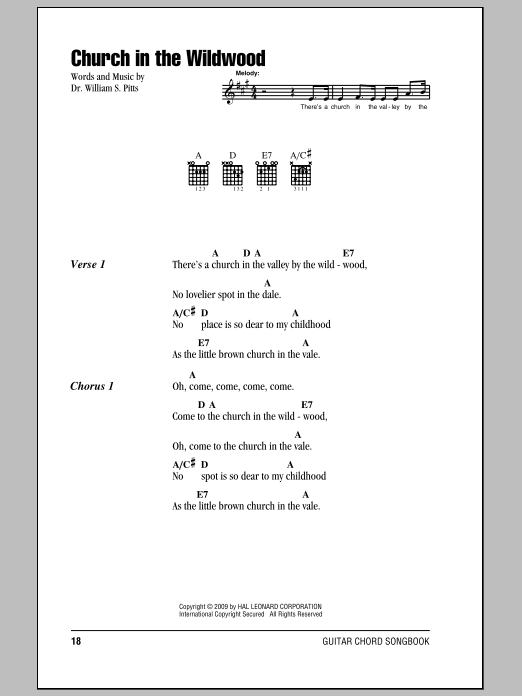 Church In The Wildwood Sheet Music
