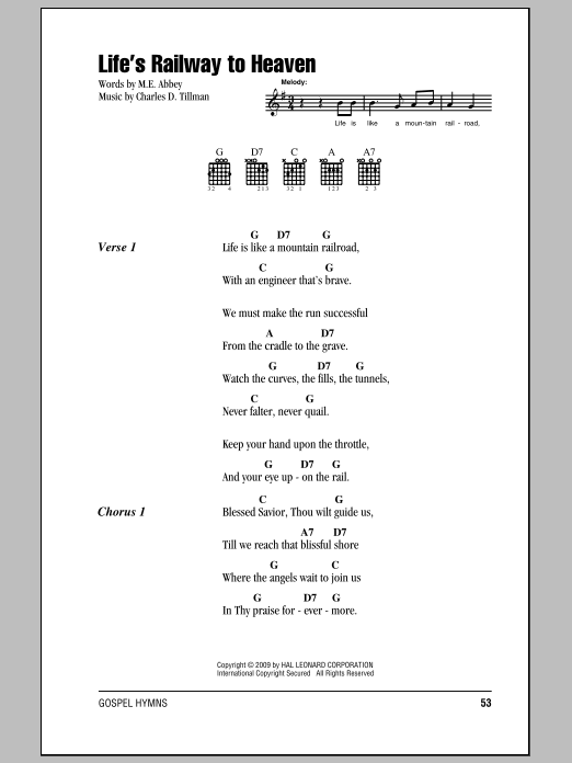 Life's Railway To Heaven Sheet Music