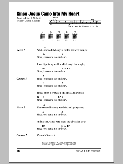 Since Jesus Came Into My Heart Sheet Music