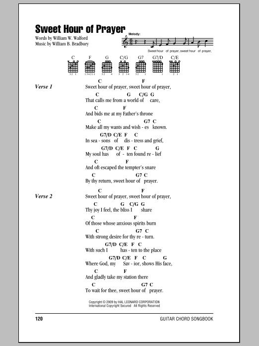 Sweet Hour Of Prayer by William W. Walford - Guitar Chords/Lyrics ...