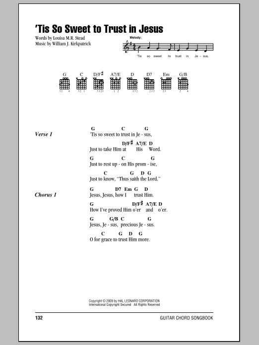 Tis So Sweet To Trust In Jesus Sheet Music By William J Kirkpatrick