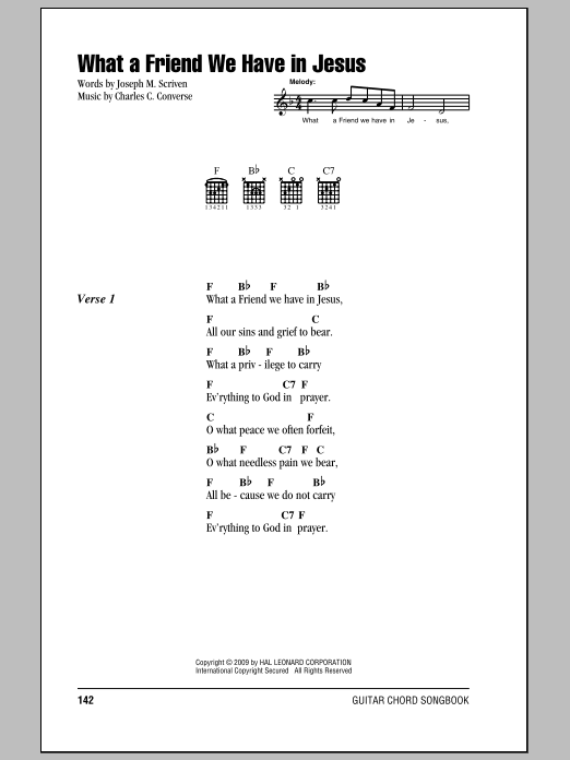 What A Friend We Have In Jesus Sheet Music By Joseph M Scriven