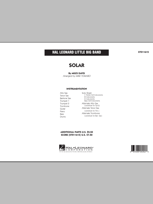 Solar (COMPLETE) sheet music for jazz band by Miles Davis and Mike Tomaro. Score Image Preview.