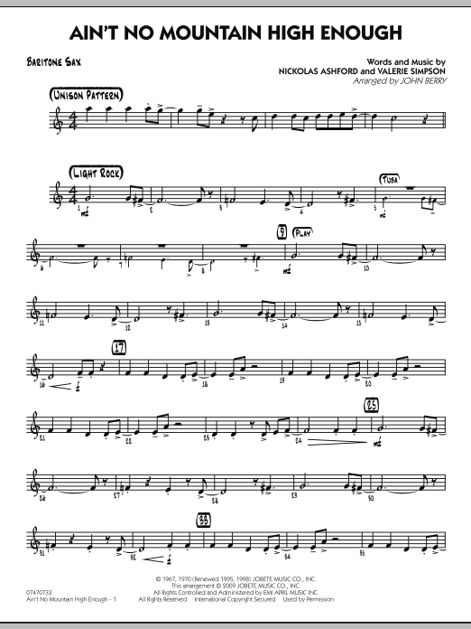 Ain't No Mountain High Enough - Baritone Sax (Jazz Ensemble)