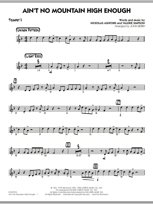 Ain't No Mountain High Enough - Trumpet 3 (Jazz Ensemble)