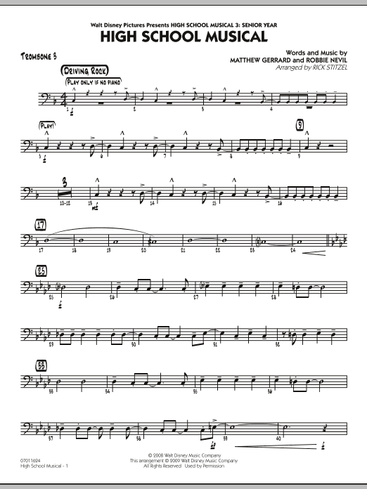 "High School Musical (from ""High School Musical 3: Senior Year"") - Trombone 3 (Jazz Ensemble)"