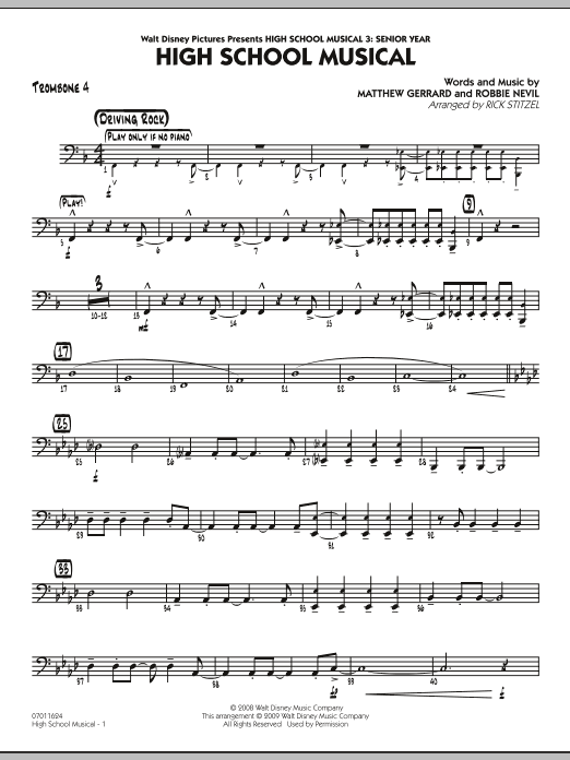 "High School Musical (from ""High School Musical 3: Senior Year"") - Trombone 4 (Jazz Ensemble)"