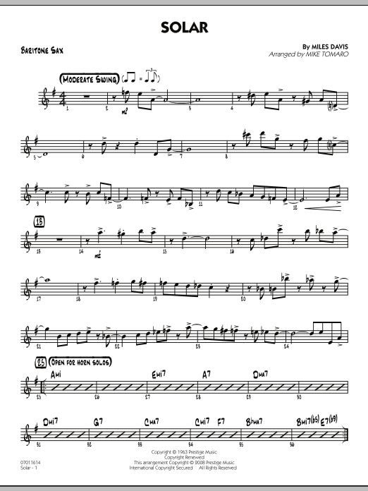 Solar - Baritone Sax (Jazz Ensemble)