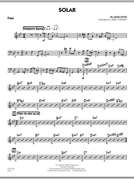 Solar - Piano (Jazz Ensemble)