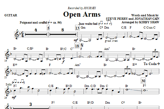 Open Arms (complete set of parts) sheet music for orchestra/band (Rhythm) by Steve Perry, Jonathan Cain, Journey and Kirby Shaw. Score Image Preview.