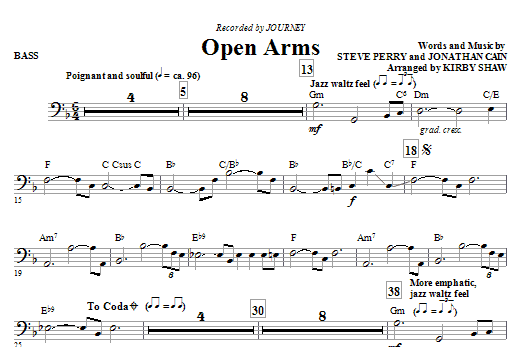 Open Arms - Bass (Choir Instrumental Pak)