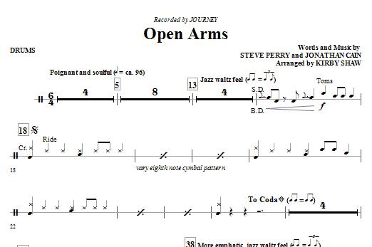 Open Arms - Drums (Choir Instrumental Pak)