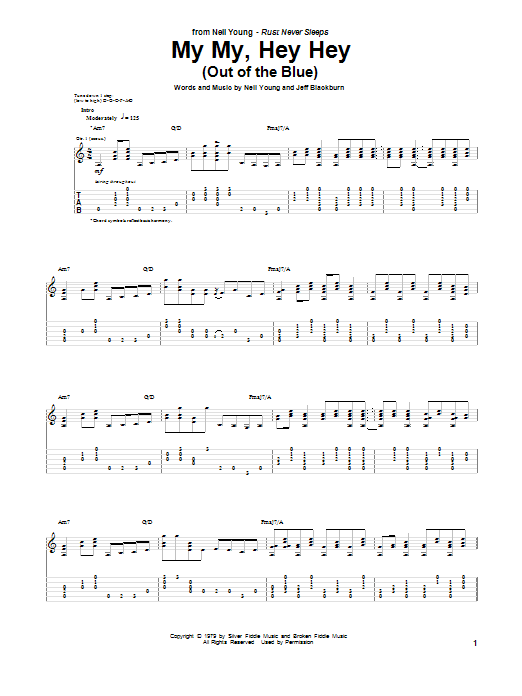 My My, Hey Hey (Out Of The Blue) Sheet Music