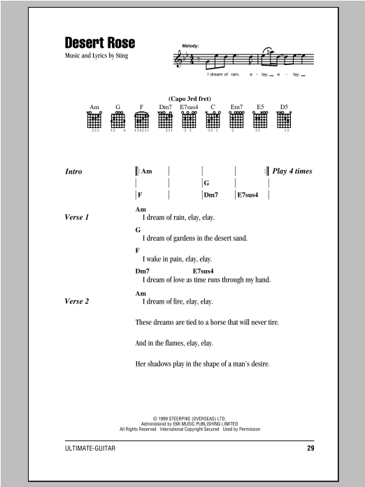 Desert Rose Sheet Music