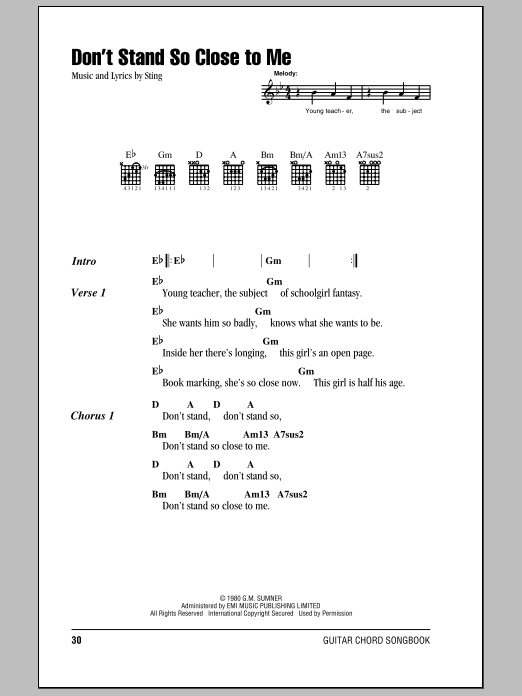Don\'t Stand So Close To Me sheet music by The Police (Lyrics ...